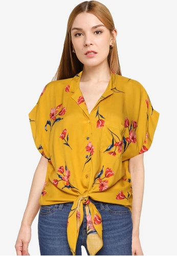 93a81205e4 Buy Dorothy Perkins Petite Ochre Floral Tie Blouse Online on ZALORA  Singapore