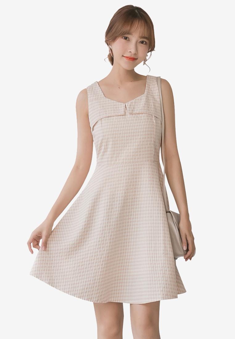 Tokichoi Sleeveless Line Apricot Dress Plaid A nrEwqrI