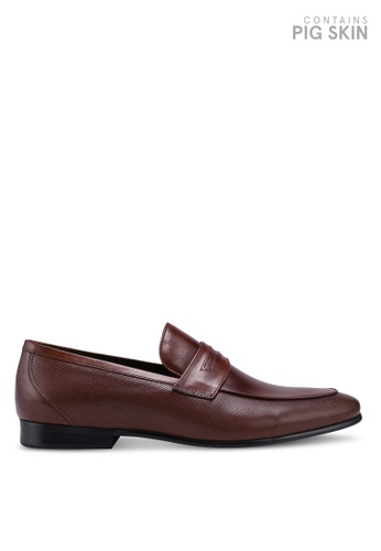 Dune London brown Paw Chisel Toe Perf Loafers 4C218SH6A32532GS_1