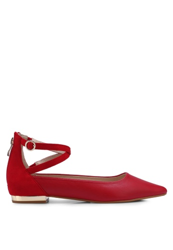 ZALORA 紅色 Contrast Colour Flats With Cross Straps B2324SH5DAF45AGS_1