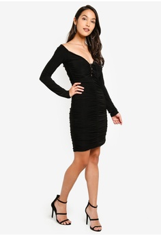 9524a34aecd5 26% OFF MISSGUIDED Slinky Ruched Mini Dress S$ 54.90 NOW S$ 40.90 Sizes 6 8  10 12 14