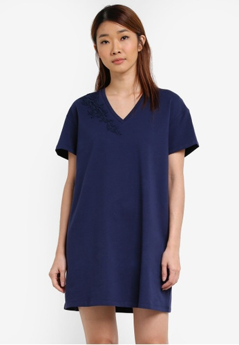 Something Borrowed navy Lasercut Oversized T-shirt Dress 565B1AA5733637GS_1