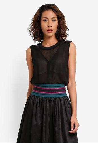 Sisley black Contrasting Layered Top 1F3BAAA0D9DDADGS_1