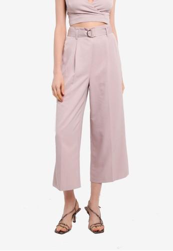 Miss Selfridge pink Pink Crop Belted Wide Leg Trousers 5F64EAA766F897GS_1