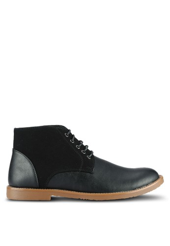 UniqTee black Textured Lace Up Ankle Boots UN097SH0RS4ZMY_1