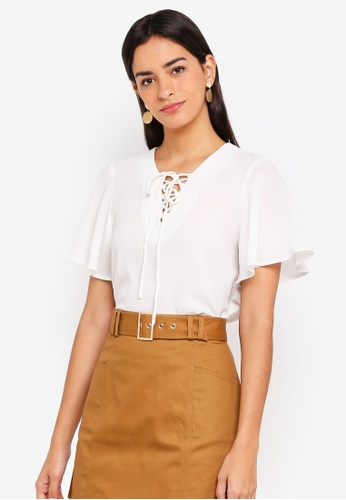 ZALORA white Boxy Top With Flare Sleeves D787EAA247D8C6GS_1