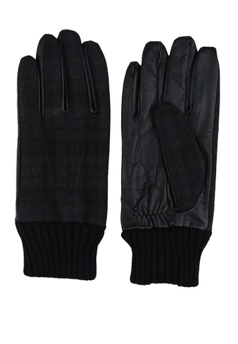 GLOBAL WORK black Knit with Faux Leather Gloves 35C4FAC689B28AGS_1