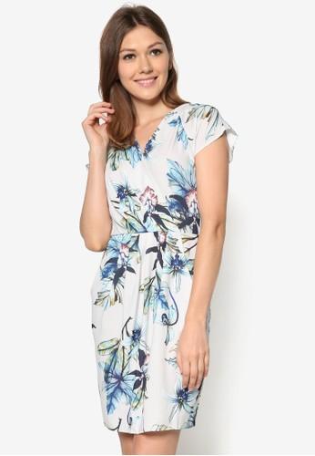 花卉裹式連身zalora 男鞋 評價裙, 服飾, 洋裝
