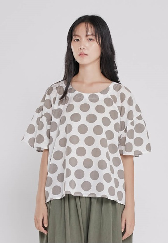 so that's me grey Ashley Round neck Lantern sleeves Top Dots D3F69AA8F239A1GS_1
