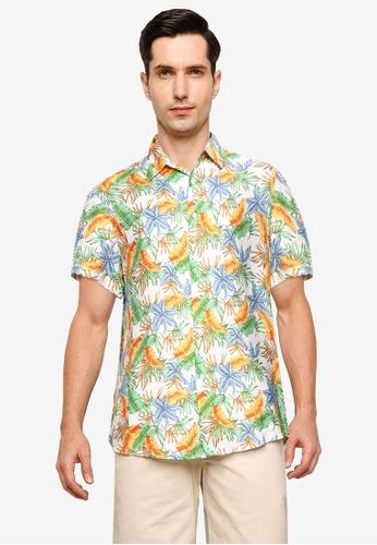 ZALORA BASICS white and multi Relaxed Resort Short Sleeve Shirt BFBBFAA9E68DDFGS_1