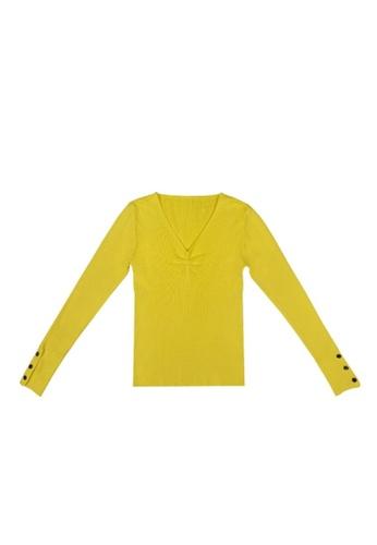 DRUM yellow COMFY LONG SLEEVE KNITWEAR- YELLOW 7E02CAA7C00EEDGS_1