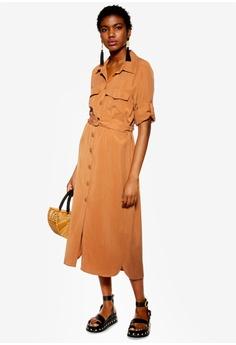 2a5273d4b13 TOPSHOP brown Utility Midi Shirt Dress F96D6AA0DA8538GS_1