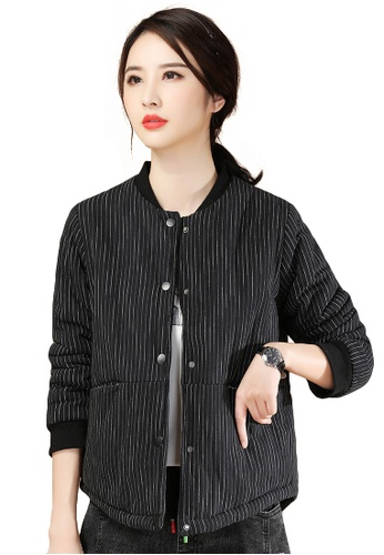 A-IN GIRLS black Fashion Stand-Collar Striped Cotton Jacket EB4A7AA97F5D6EGS_1