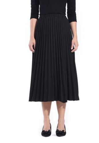 Hernani black Midi Pleated Skirt 5815DAA90F0C2AGS_1