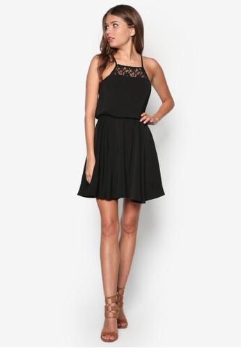 削肩細帶蕾絲拼接洋裝, 服飾, 洋zalora是哪裡的牌子裝
