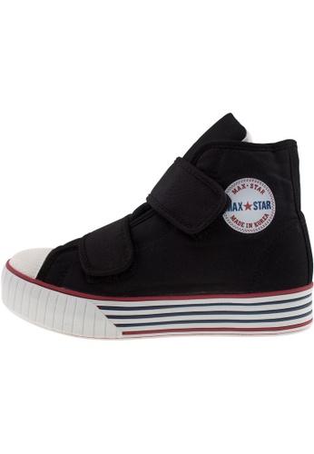 Maxstar 黑色 新款韩国鞋C30-2Band時尚帆布布混合女黑色 US Women Size MA345SH35HDKTW_1