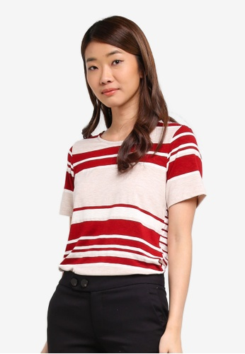 Dorothy Perkins white Red And Oatmeal Striped Curve Hem T-Shirt F8C70AA34567FBGS_1