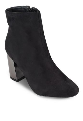金屬粗跟仿麂皮踝靴, 女鞋,esprit 品牌 鞋
