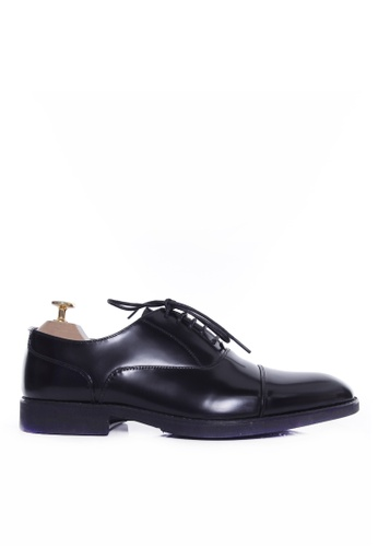 Zeve Shoes black Zeve Shoes Oxford Cap Toe Lace Up - Black Polished Leather With Black EVA Sole 8F3BASH8DBD77FGS_1