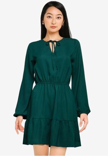 ZALORA BASICS green Tie Front Tiered Dress 82278AA30C87CBGS_1