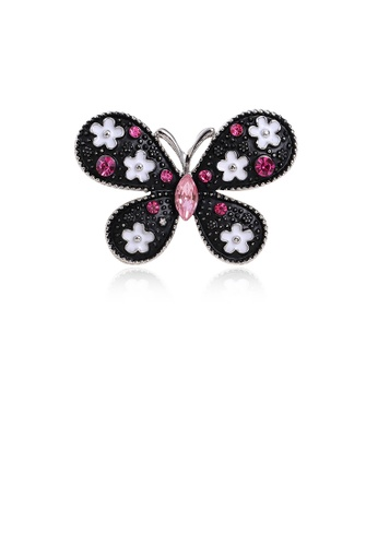 Glamorousky pink Fashion and Elegant Black Butterfly Brooch with Pink Cubic Zirconia B30B8ACCD3E32BGS_1