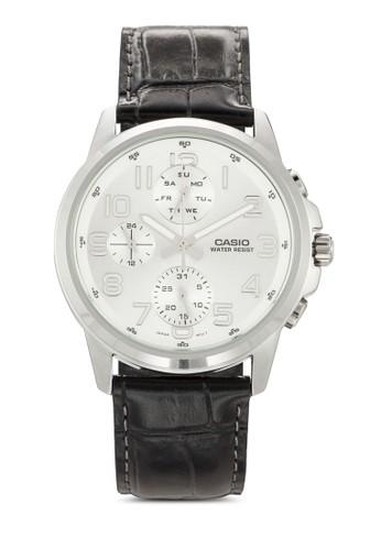 MTP-Eesprit outlet 香港307L-7ADF 暗紋真皮圓錶, 錶類, 飾品配件