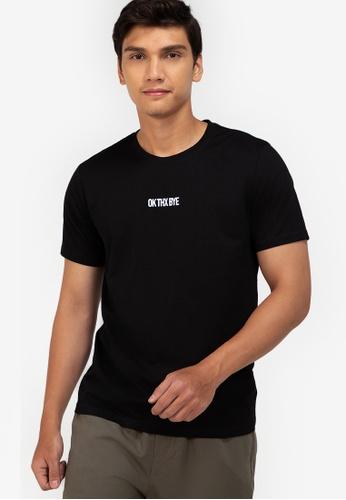 ZALORA BASICS black Ok Thx Bye T-Shirt 1A656AA0A45319GS_1