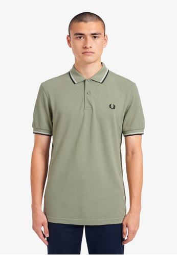 FRED PERRY green M3600 - Twin Tipped Fred Perry Shirt - (Seagrass) 71CBBAA6F7BE04GS_1