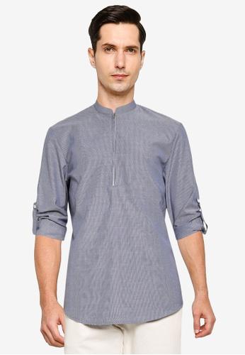 ZALORA BASICS navy Half Zip Stand Collar Short Sleeves Shirt 751AAAA0407D78GS_1