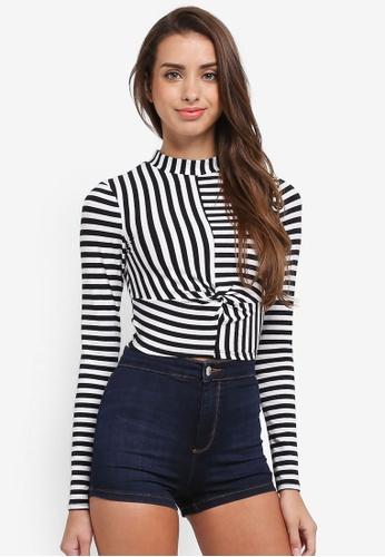 Miss Selfridge black Long Sleeve Stripe Funnel Top 83207AA37654E5GS_1