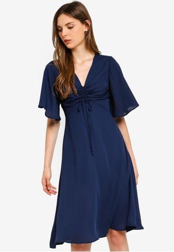 ZALORA 藍色 褶飾洋裝 35A2AAAFA26E7BGS_1