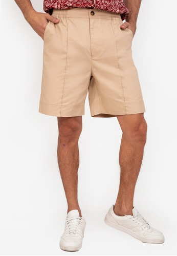 ZALORA BASICS beige Middle Seam Shorts F5742AAC839242GS_1