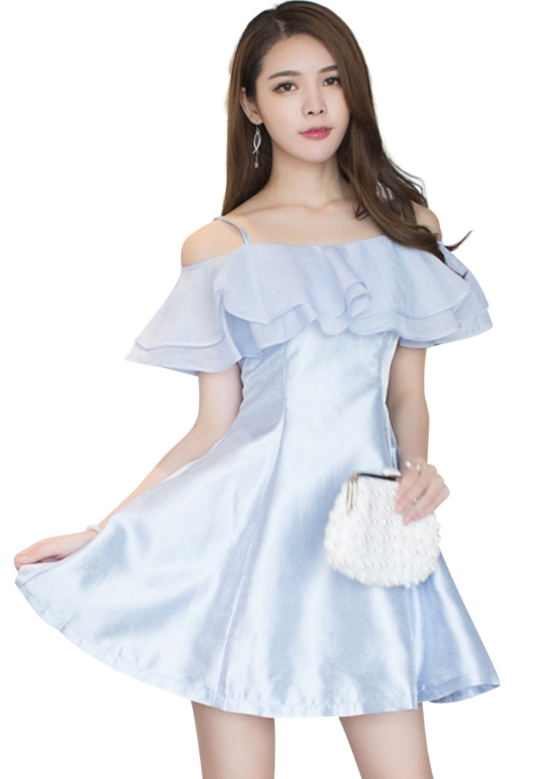 Sunnydaysweety Blue blue ruffle Dress Sweet Piece One S 2017 UA033133 S qz6fFBUOP