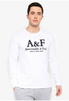 d00c24d4d Abercrombie & Fitch white Long-Sleeve Heavyweight Logo Crew Neck Tee  52E9BAAC0F3ECCGS_1