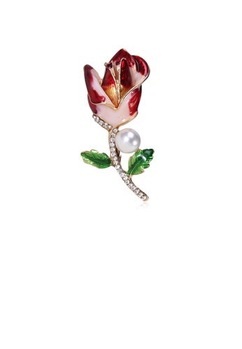 Glamorousky white Simple and Fashion Red Rose Imitation Pearl Brooch with Cubic Zirconia 371E3AC46C073DGS_1