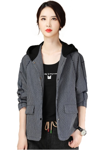 A-IN GIRLS black and navy Loose Striped Warm Cotton Hooded Jacket E3062AA0C63D82GS_1