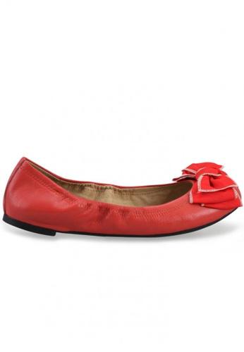 Shu Talk orange Nappa Round Toe Ballet Flats With Fabric Bow SH617SH2USCVHK_1