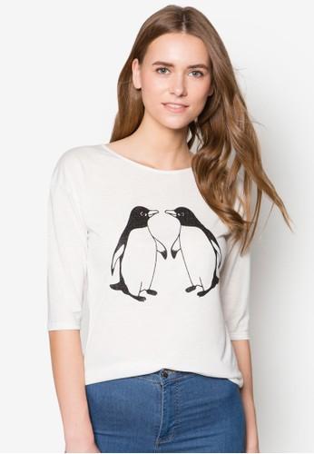 企鵝情侶zalora是哪裡的牌子設計TEE, 服飾, 服飾