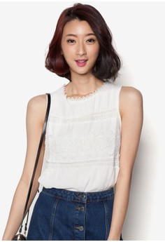 Lace Front Sleeveless Top