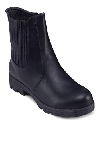 zalora 折扣碼時尚拼接中筒靴, 女鞋, 鞋