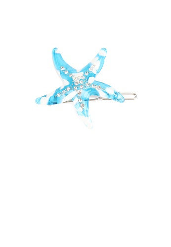 Glamorousky white Fashion Simple Blue Starfish Hair Clip with Cubic Zirconia 5989DAC02885DCGS_1