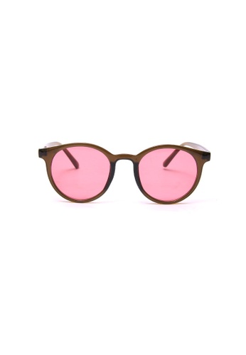Kyfer's Eyewear & Essentials brown and red Vintage Round Sunglasses  KY376AC0GE30SG_1