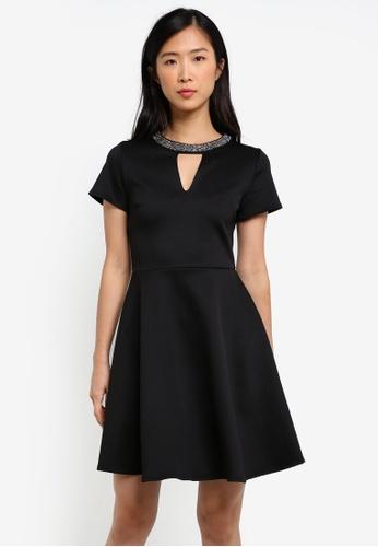 Dorothy Perkins black Black Embellished Neck Prom Dress DO816AA0RY0YMY_1