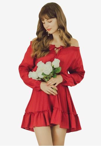 Eyescream red Crinkled Off Shoulder Dress 21DA8AA1047CB8GS_1