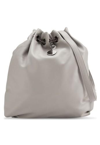 鏈飾抽繩仿zalora 手錶皮水桶包, 包, 肩背包