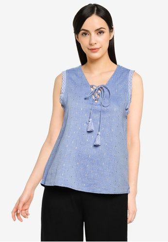 Springfield blue Patterned Neckline Chambray Top F3D89AAE8B17B7GS_1
