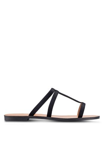 ZALORA 黑色 Velvet 拖鞋 A47F1SH9A6EA1FGS_1