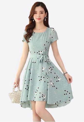 Halo green Dot Printed Chiffon Dress B68F6AA1BB9941GS_1