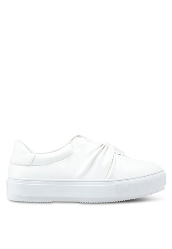 Carlton London white Ruched Front Slip Ons 708B4SH096501AGS_1