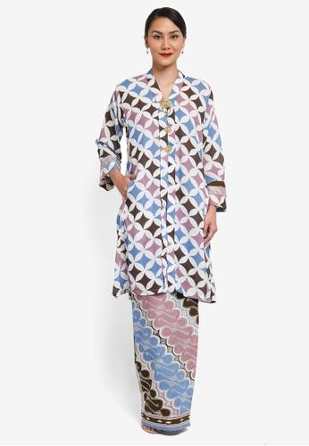 Syomirizwa Gupta for ZALORA brown and pink Sesilah Kebaya SY518AA0SXLXMY_1